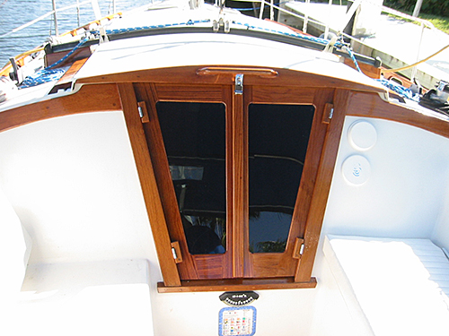 Newly installed teak companionway doors.