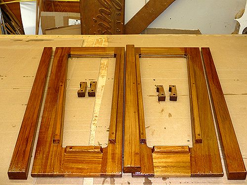 Teak components for some sailboat companionway doors.