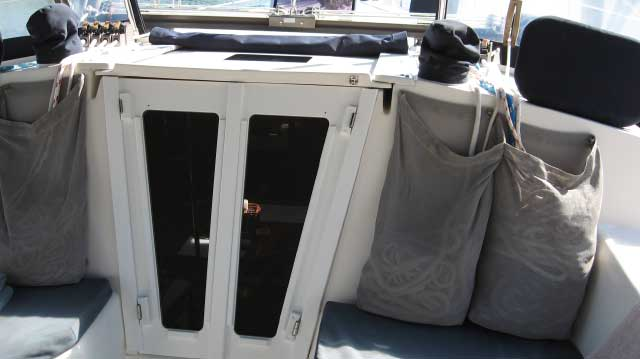 Starboard plastic companionway doors for a Catalina sailboat.